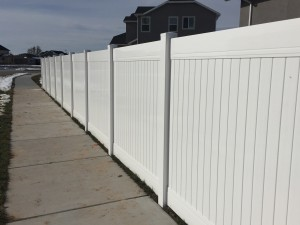 White vinyl privacy fence Layton Utah